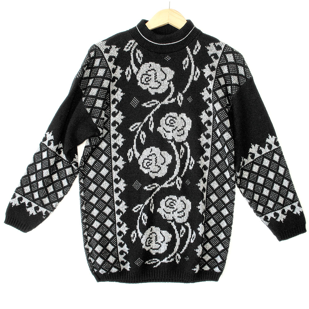 e6f3c54de434a0 Vintage 80s Black Sparkle Roses Oversized Slouch Ugly Sweater - The Ugly  Sweater Shop