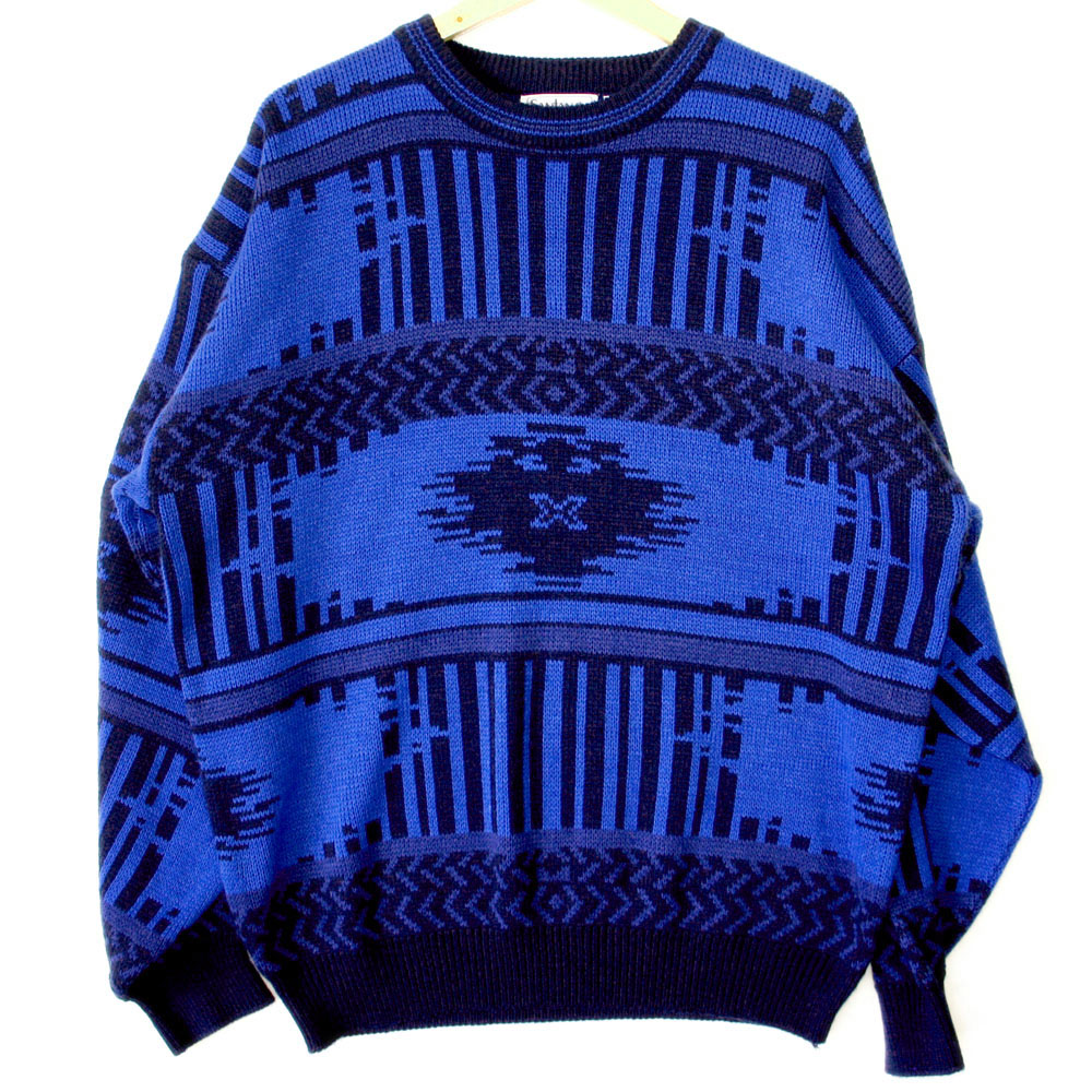 Vintage 80s Cobalt Blue Aztec Tribal Cosby Ugly Sweater - The Ugly ...