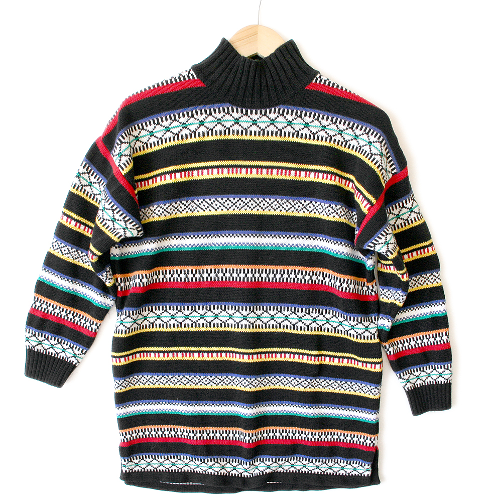 Vintage 90s Bright Tribal Aztec Oversized Cotton Ugly Sweater ...