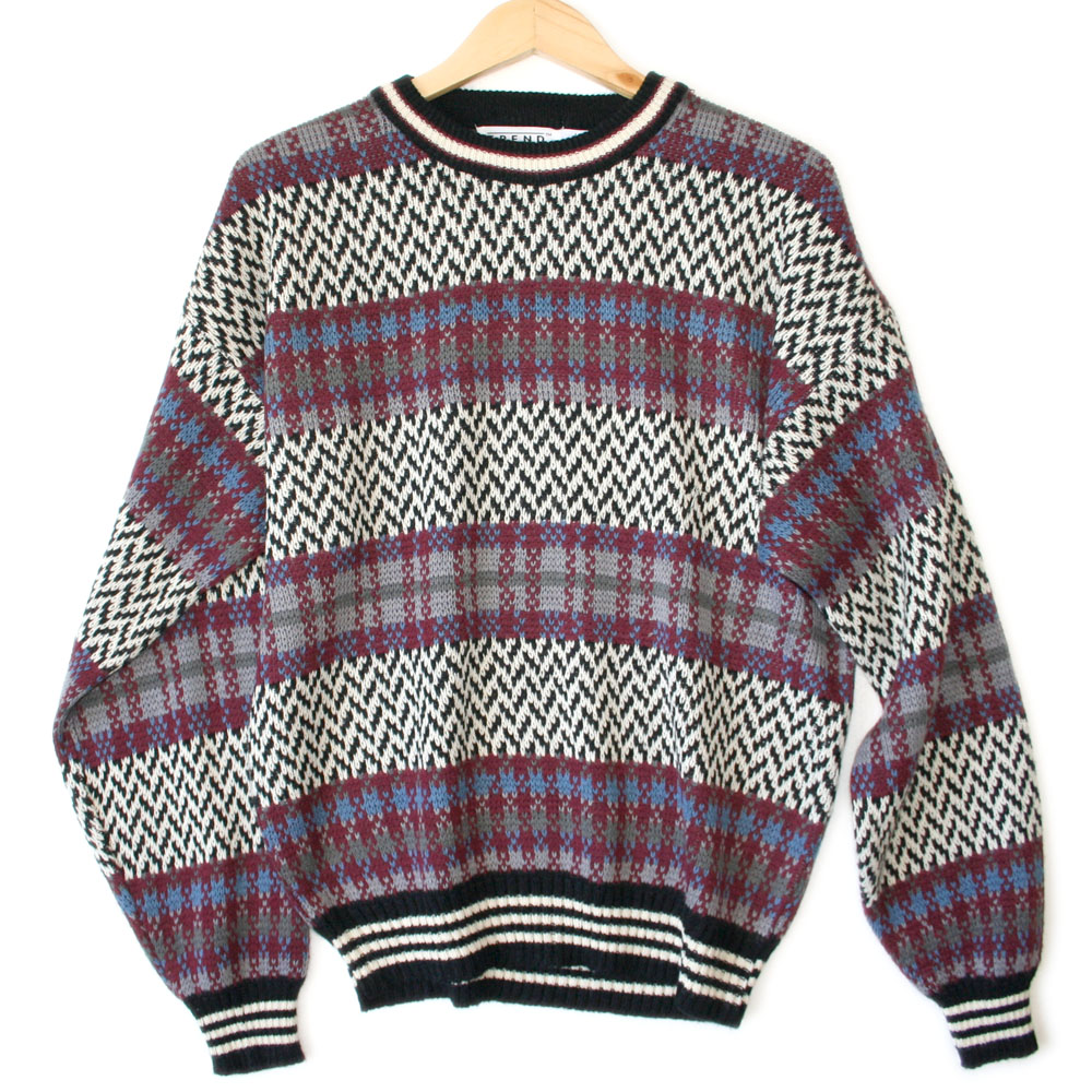 Vintage 90s Plaid Amp Zig Zag Cosby Ugly Sweater The Ugly