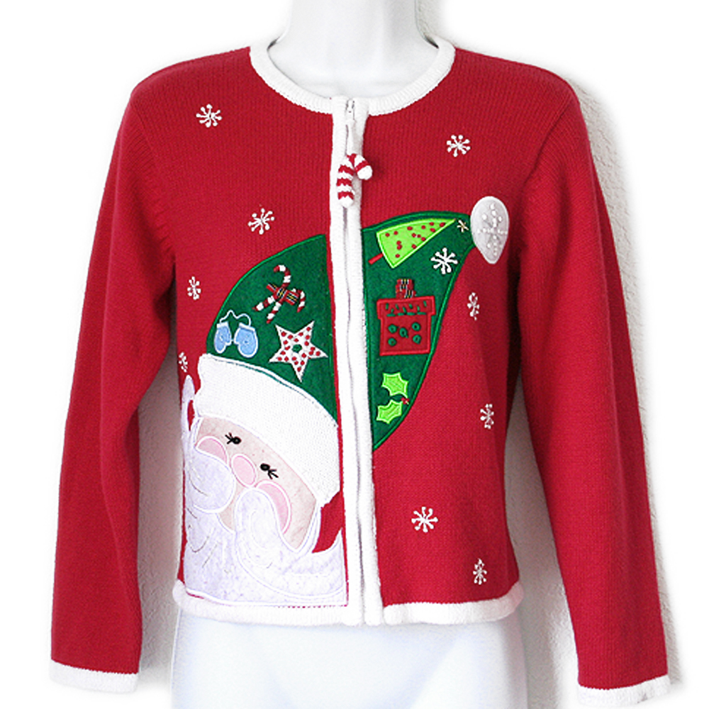 Big Santa Head Tacky Ugly Christmas Sweater - Kids - The Ugly ...