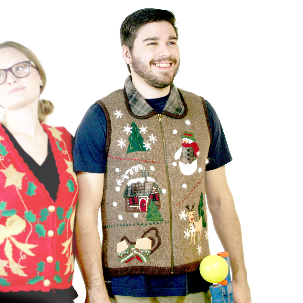 Deer hunting ugly christmas sweater vest the ugly for Fishing christmas sweater