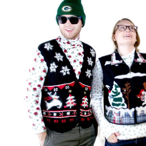 Fuzzy Black Tacky Ugly Christmas Sweater Vest