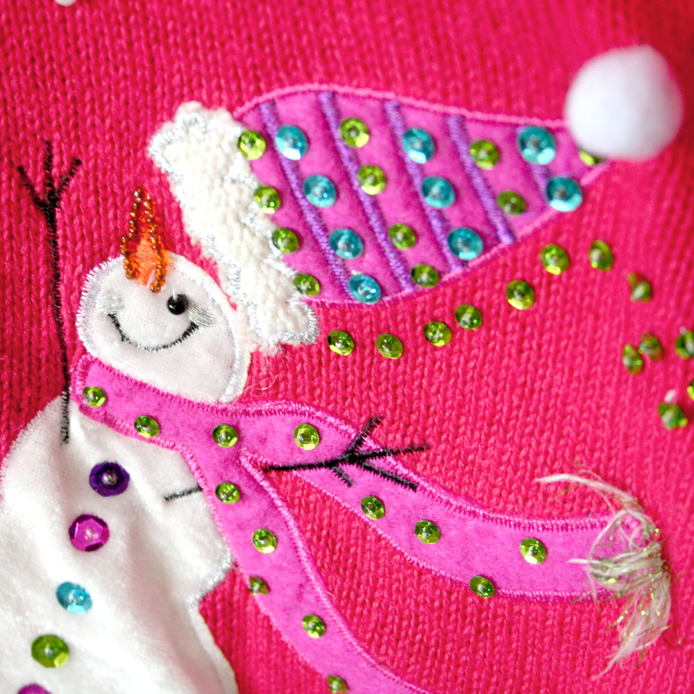 hot pink sequin snowmen ugly christmas sweater - Pink Ugly Christmas Sweater