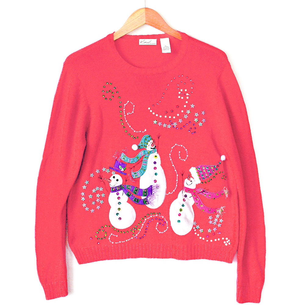Hot Pink Sequin Snowmen Ugly Christmas Sweater - The Ugly Sweater Shop