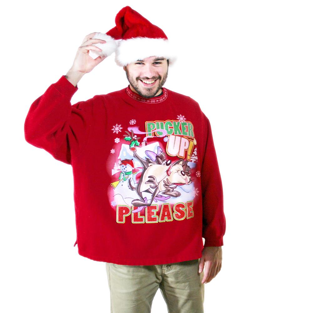 u0026quot;Pucker Up Pleaseu0026quot; Looney Tunes Tasmanian Devil Tacky Ugly Christmas Sweatshirt - The Ugly ...