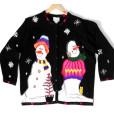 Smirking Snowmen, Hidden Kitten Tacky Ugly Christmas Sweater