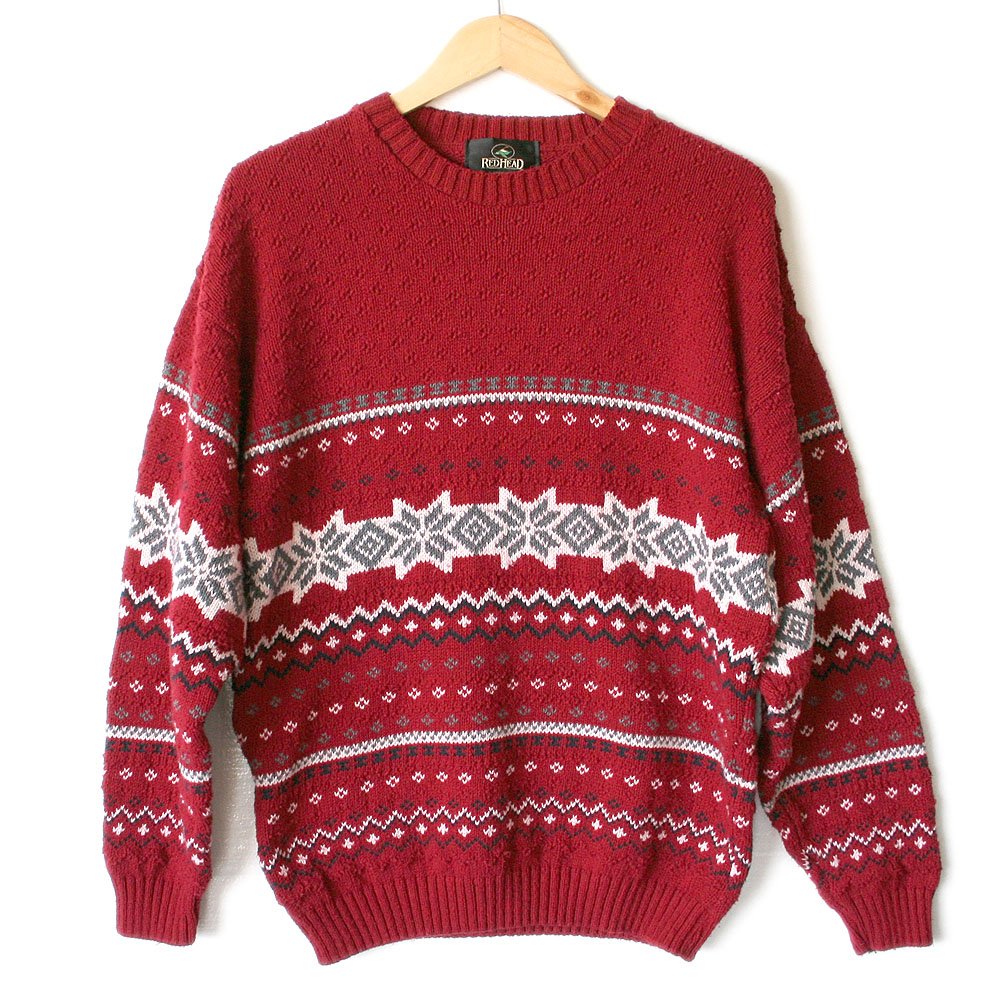 Red Nordic Snowflake Nubby Ski / Ugly Christmas Sweater - The Ugly ...