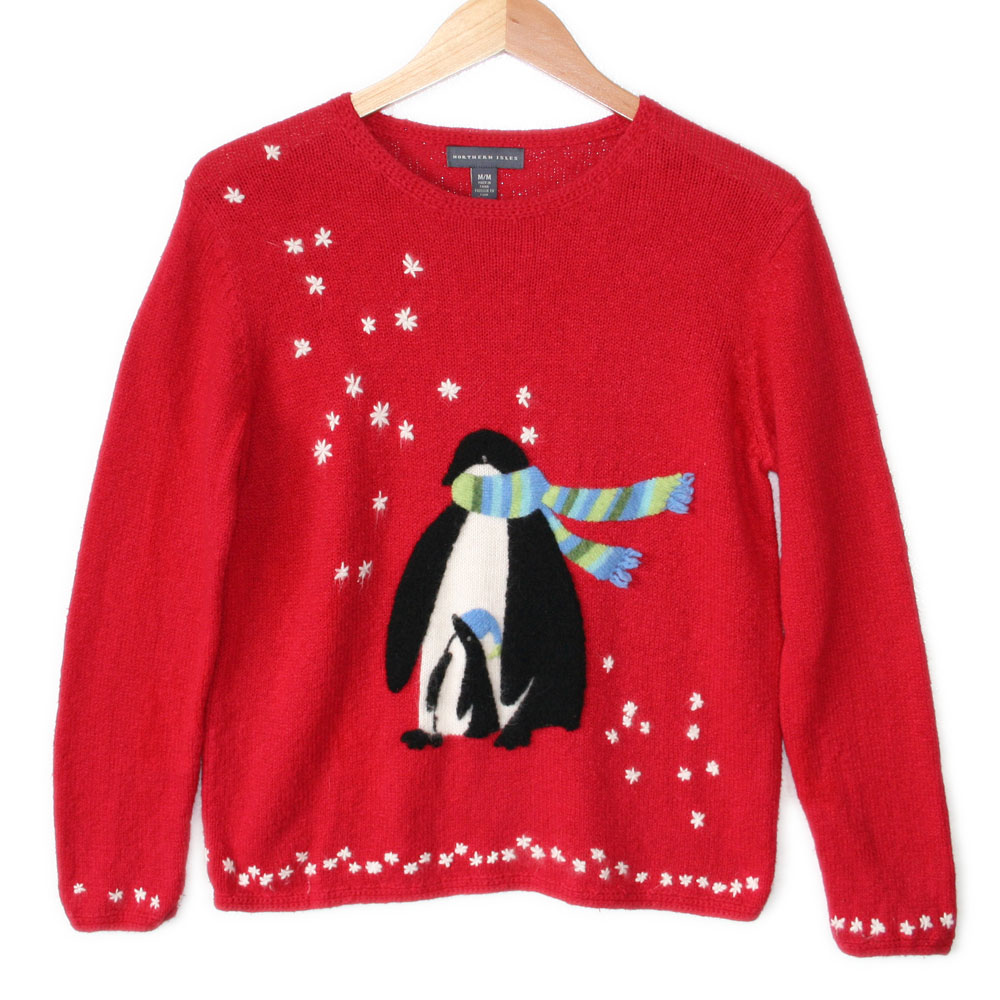 red penguin march ugly christmas sweater