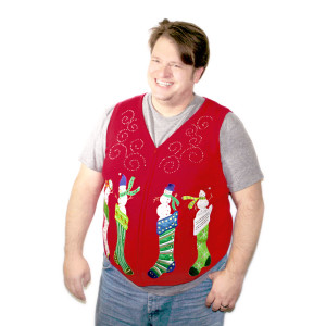 snowmen popping out of stockings ugly christmas sweater vest new