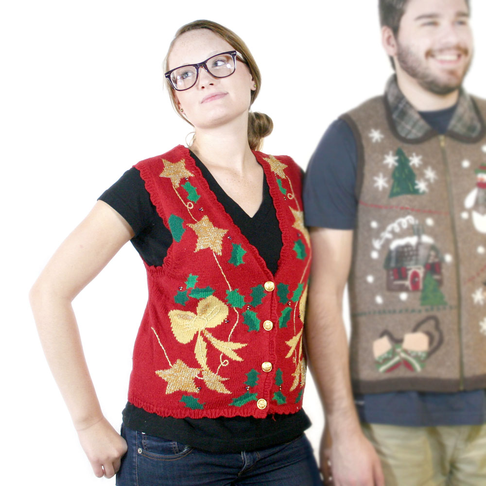 Stars & Bows Tacky Ugly Christmas Sweater Vest - The Ugly Sweater Shop