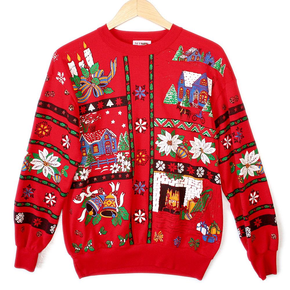 Vintage 80s scandinavian tacky ugly christmas sweatshirt for Fishing ugly christmas sweater