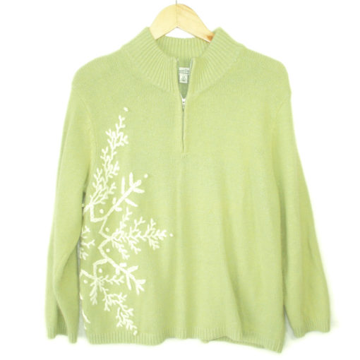 Coldwater Creek Fuzzy Lime Green Ugly Christmas Sweater