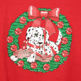 Creepy Eye Dalmatian In A Wreath Vintage 90s Ugly Christmas Swetashirt