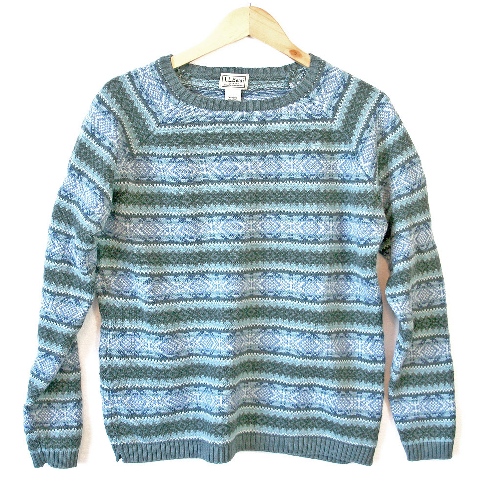 LL Bean Cotton Fair Isle Ugly Ski Sweater - The Ugly Sweater Shop