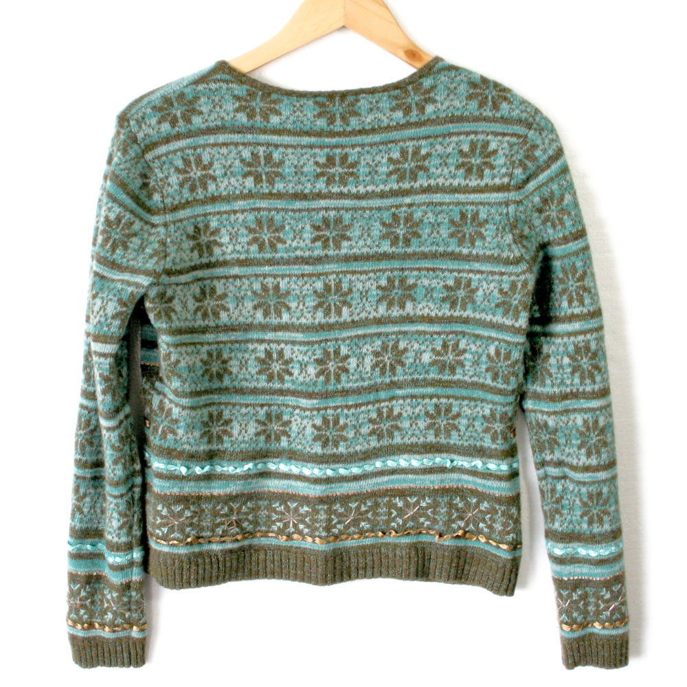 Teal & Brown Fair Isle Ugly Ski Sweater - The Ugly Sweater Shop