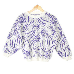 Vintage 80s Purple Sparkle Fireworks Ugly Sweater