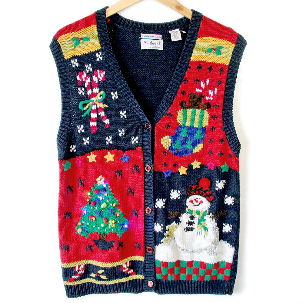Vintage 90s Light Up Ugly Christmas Sweater Vest - The Ugly ...
