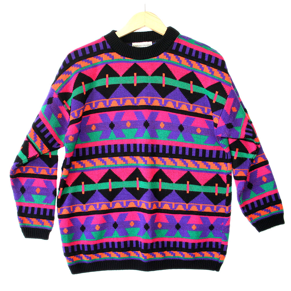 Vintage 80s DayGlo Tribal Aztec Tacky Ugly Ski / Cosby Sweater ...