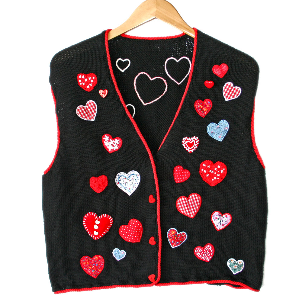 Calico Hearts Valentines Day Ugly Sweater Vest The Ugly Sweater Shop