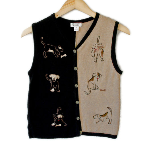 Dogs with Bones Black & Tan Tacky Ugly Sweater Vest