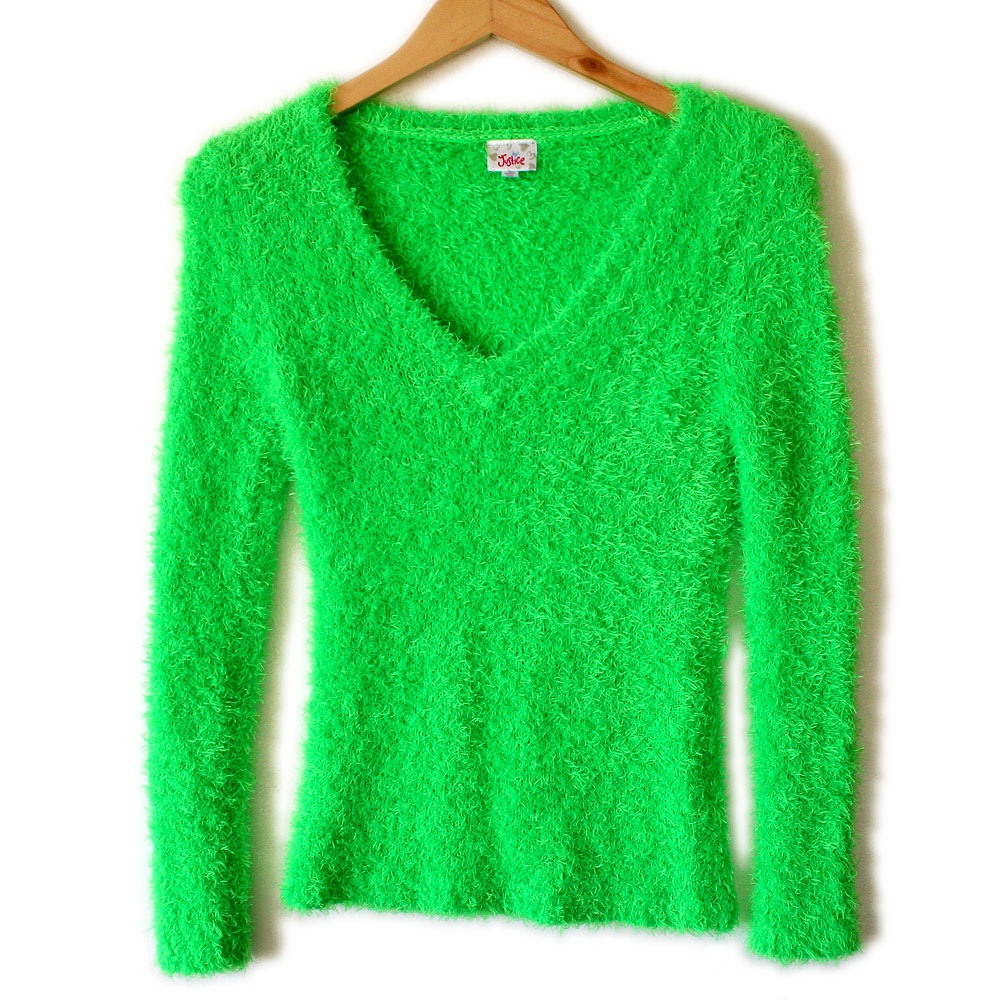 Shaggy Muppet or Easter Grass Bright Green Hairy Ugly Sweater ...