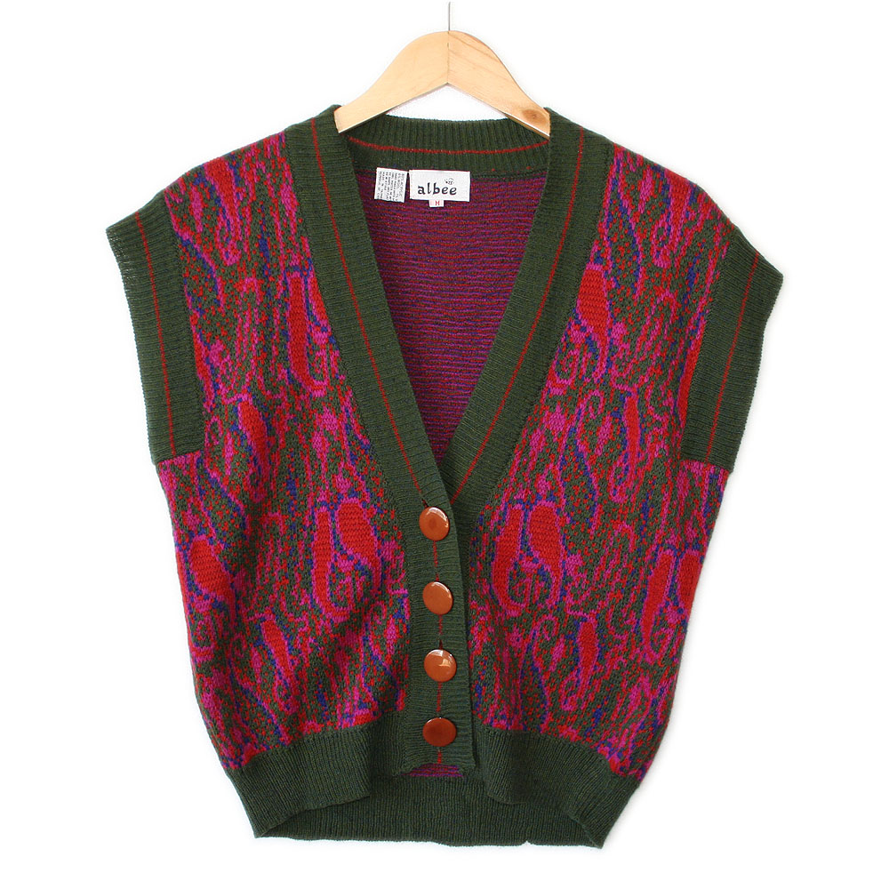 Vintage 70s Green and Hot Pink Paisley Hot Mess Ugly Sweater Vest ...