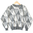 Vintage 80s Gray Triangles Ugly Cosby Sweater