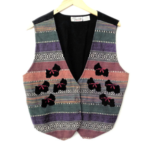 Soutwesthern Scottie Dogs Tacky Ugly Fabric Vest