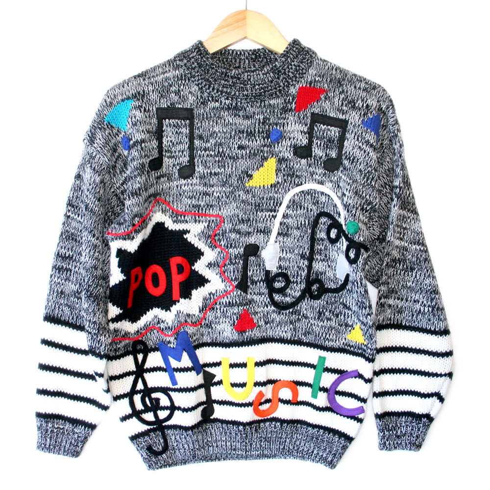 Vintage 80s Pop Music Tacky Ugly Cosby Sweater - The Ugly ...