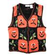 Sad Blockhead Pumpkins Tacky Halloween Ugly Sweater Vest