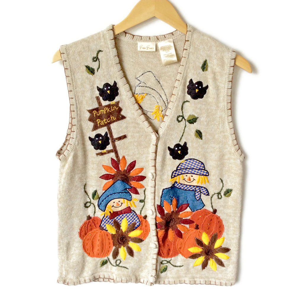 Scarecrow and Pumpkins Fall Halloween Thanksgiving Ugly Sweater ...