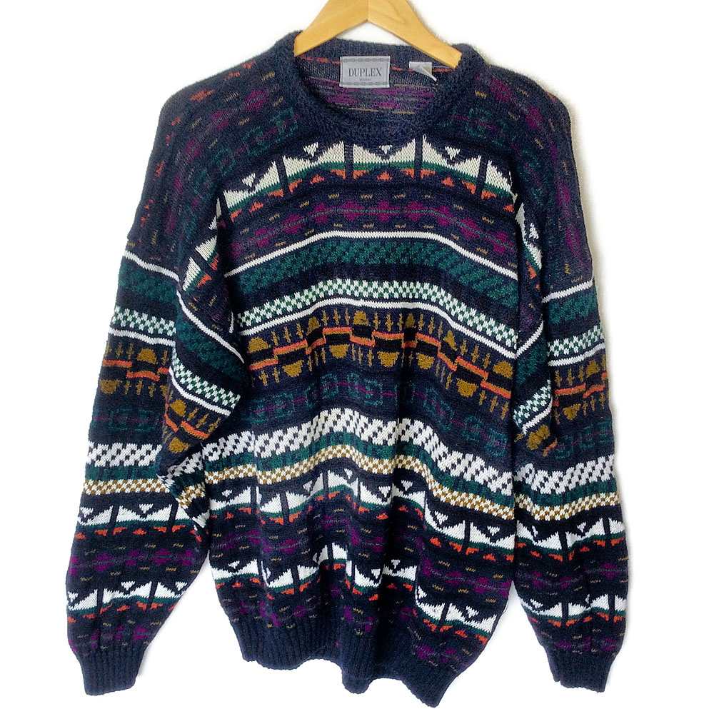 Tribal Aztec Cotton Blend Oversized Slouchy Ugly Ski Sweater - The ...