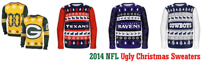 football lovers officially licensed 2014 nfl ugly christmas sweaters available now - Nfl On Christmas 2014