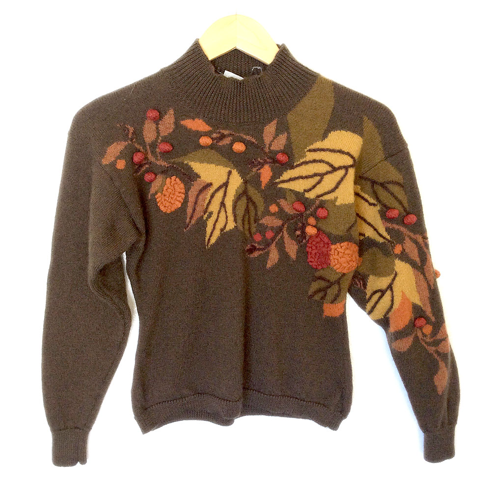 Autumn Leaves Wool Fall Theme / Thanksgiving Ugly Sweater - The ...