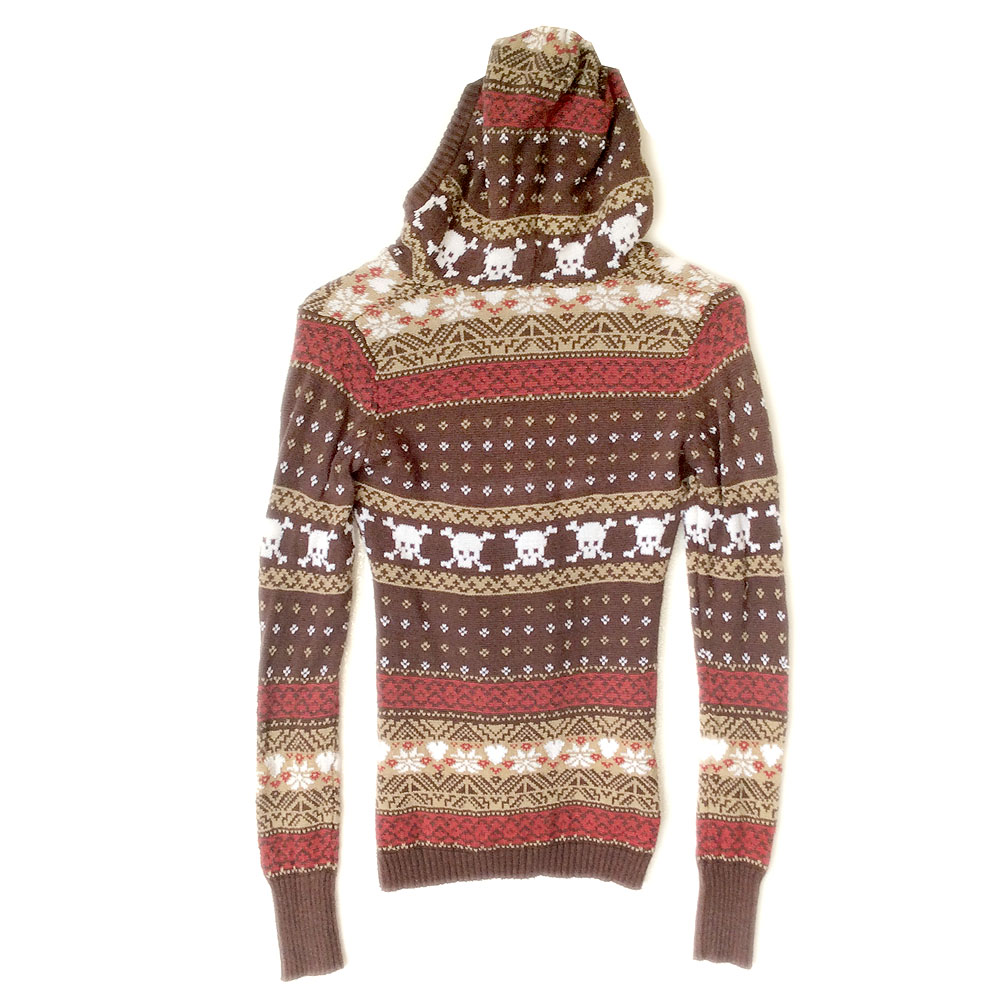 Billabong Skull Hoodie Brown Ugly Christmas Sweater - The Ugly ...