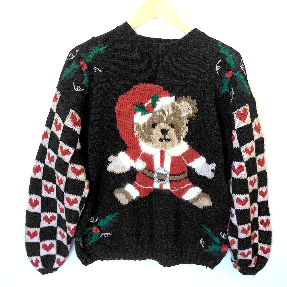 Come To Teddy Bear Vintage 80s Tacky Ugly Christmas Sweater The