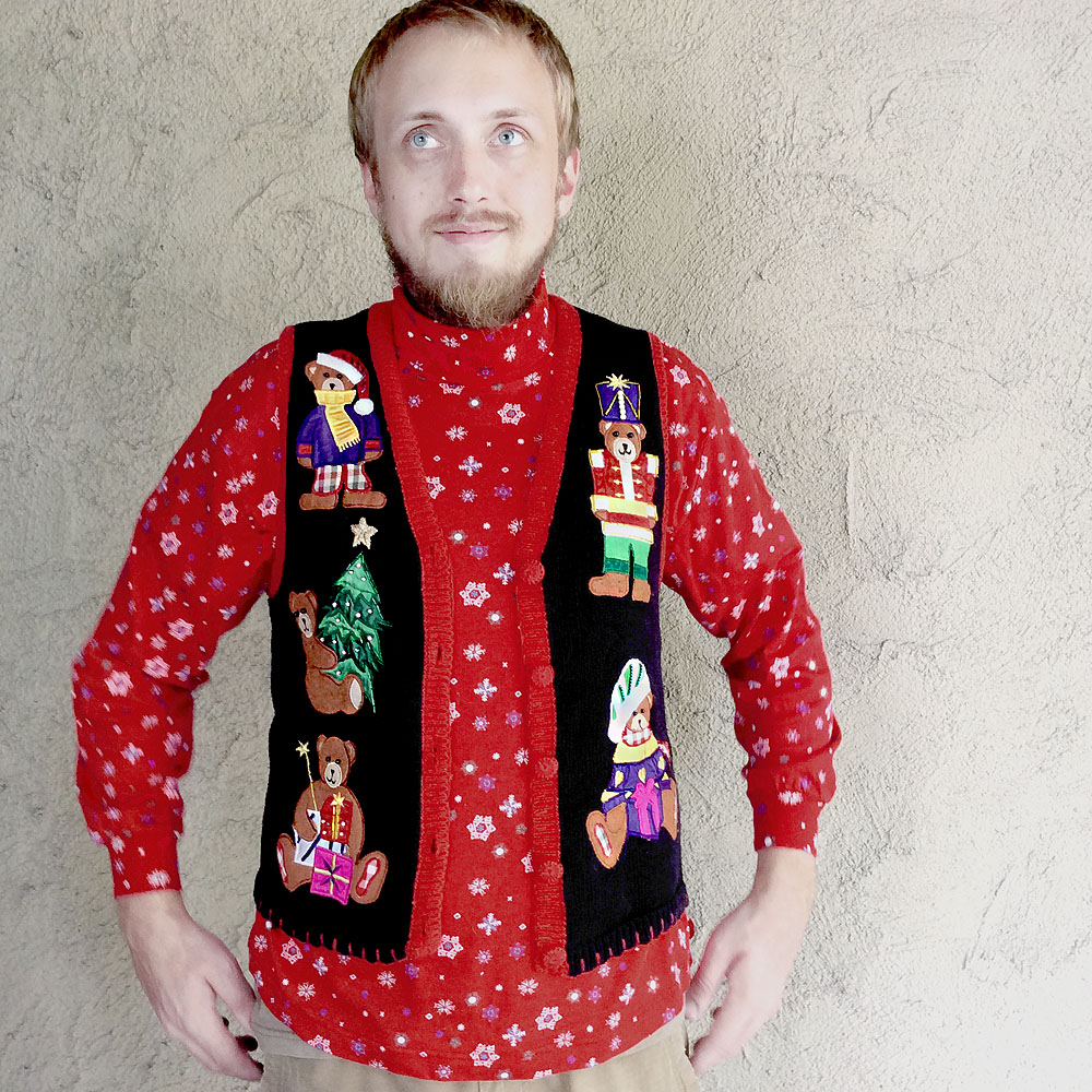 Humping Teddy Bear Tacky Ugly Christmas Sweater Vest - S - The ...