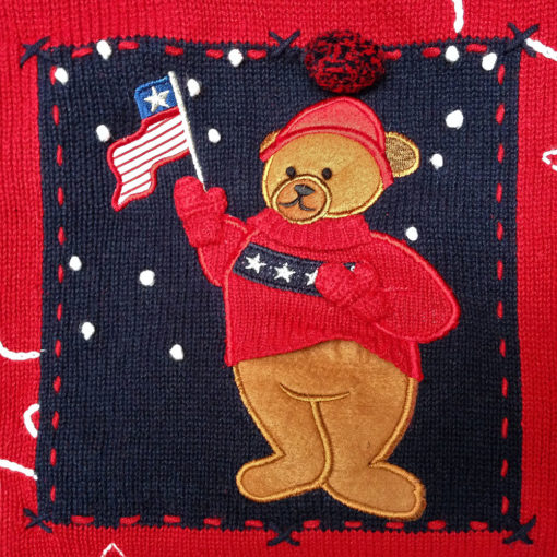 Patriotic Teddy Bear 4th of July USA Flag Independence Day Ugly Sweater - L
