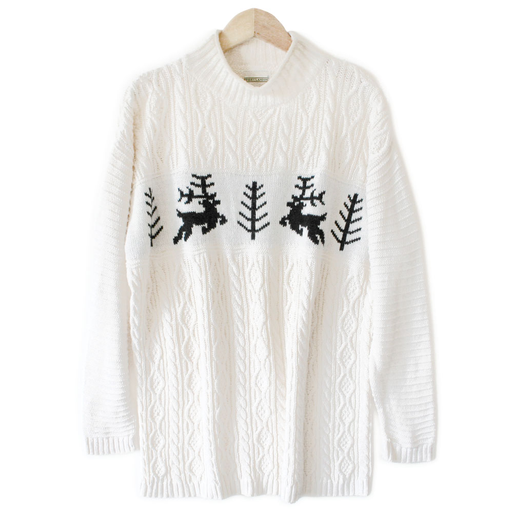 Reindeer Cable Knit Mock Turtleneck Men's Ugly Christmas Sweater ...