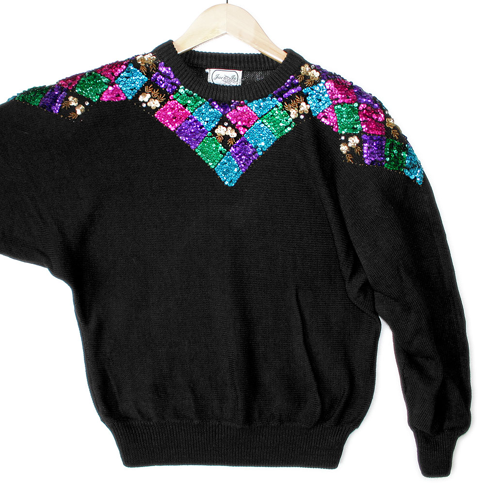 Vintage 80s Batwing Tacky Ugly Gem Sweater - The Ugly ...
