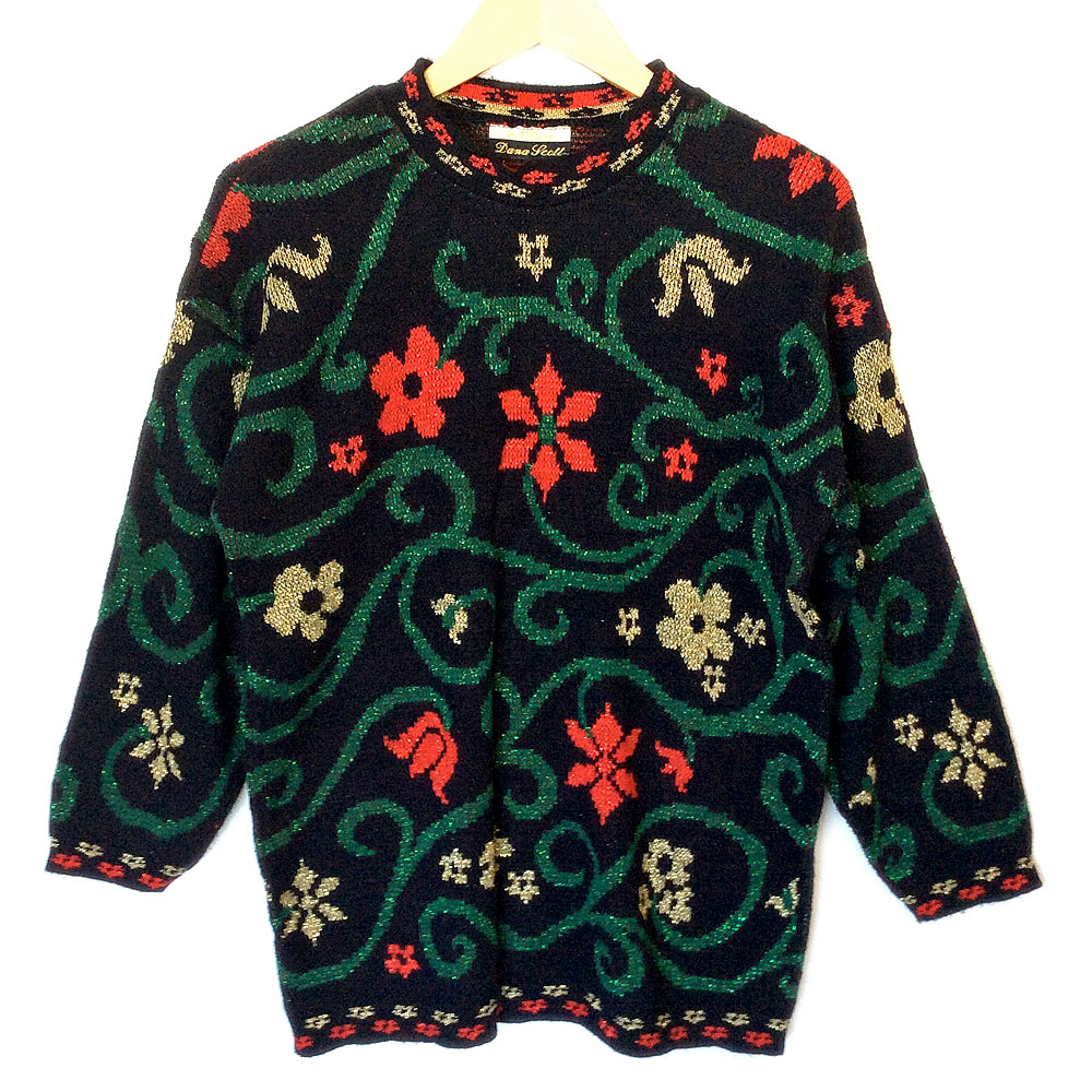 Vintage 80s Sparkle Flower Vines Ugly Christmas Sweater ...