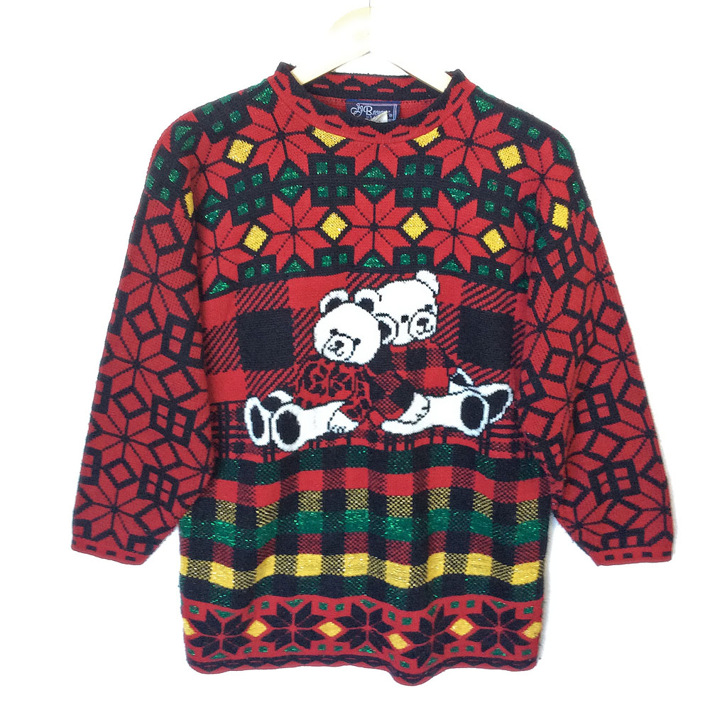 Vintage 80s Teddy Bears In Ugly Sweaters Tacky Ugly Christmas ...