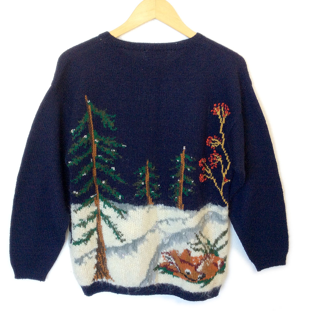 vintage 90s winter woodland scene tacky ugly christmas sweater - Vintage Christmas Sweater