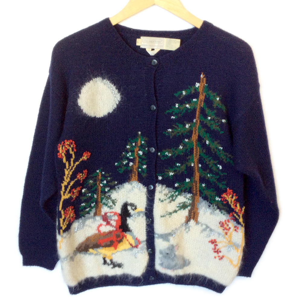 90s Christmas Sweaters.Vintage 90s Winter Woodland Scene Tacky Ugly Christmas Sweater