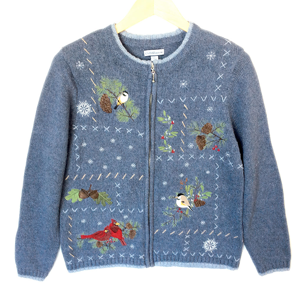 Winter Birds Blue Cardigan Tacky Ugly Christmas Sweater