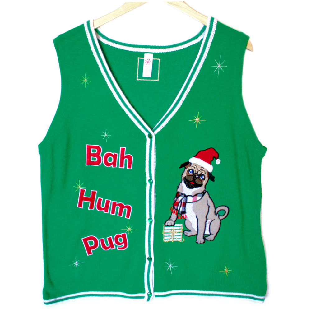 ugly pug sweaters bah hum pug tacky ugly christmas sweater vest the ugly 8126