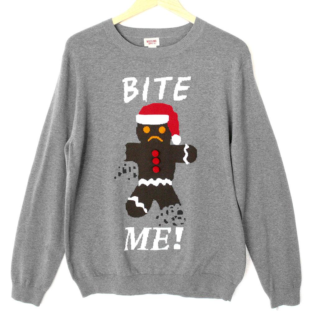 Bite me gingerbread man tacky ugly christmas sweater the for Fishing ugly christmas sweater