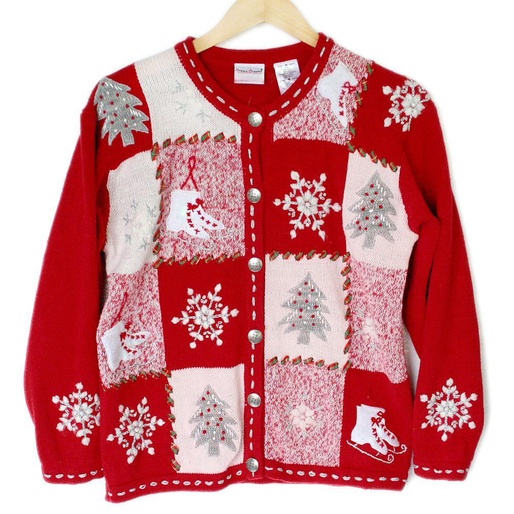 Ice skates and christmas trees tacky ugly christmas for Fishing ugly christmas sweater