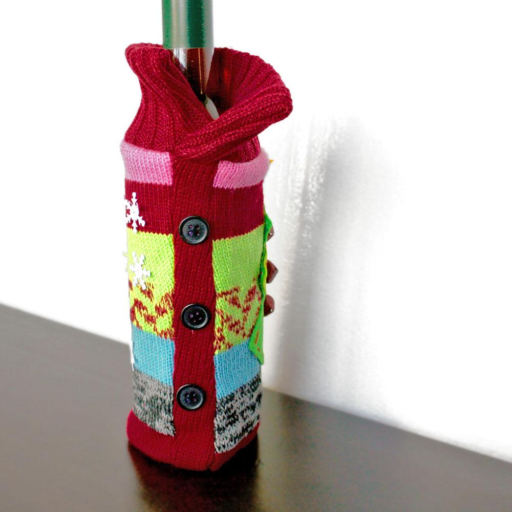 Jingle bell knit ugly christmas sweater wine bottle cover for Wine bottle christmas tree frame for sale